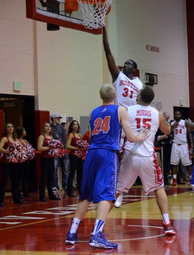 Malik Thomas attempts one of BU's 40 shots at the rim on Wednesday night.