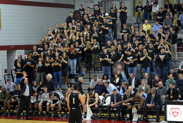 Two buses' worth of Bryant students packed into Lavietes Pavilion. (Beanpot Hoops photo)