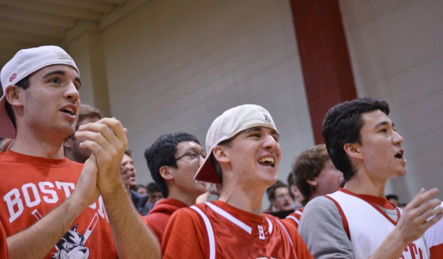 BU students cheer as the Terriers overcame a seven-point deficit in the final minute to force overtime. (Beanpot Hoops photo)