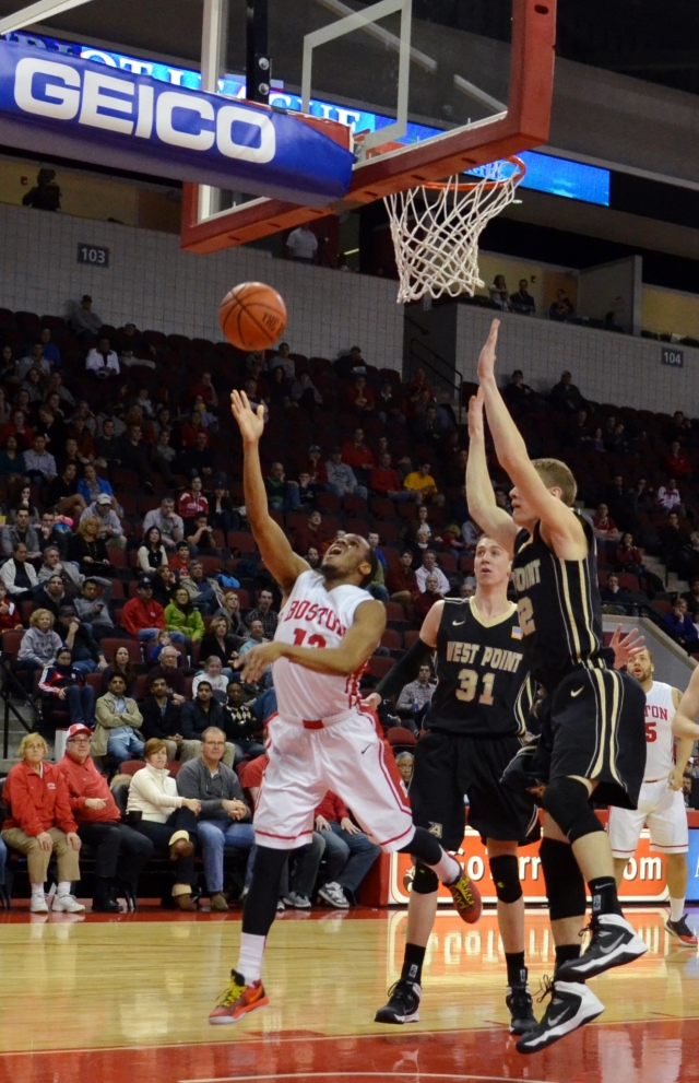 D.J. Irving scores two of his team-high 20 points against Army at Agganis Arena on Saturday. (Beanpot Hoops photo)